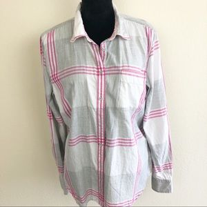 Stylus Button Front Shirt Plaid Gray - Pink